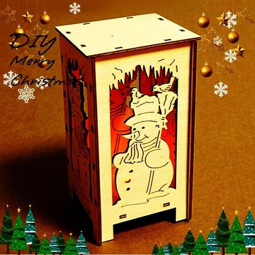 DIY만들기 입체 나무 크리스마스 눈사람 무드등 만들기 램프포함