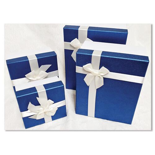 홀마크 리본 선물포장상자 -블루 (사이즈 4종택일)