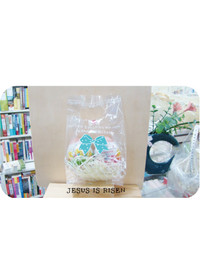 부활절달걀비닐봉투 하늘리본(2구포장 비닐10매 꽃스티커10매)