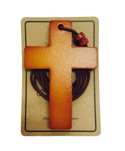 가죽 십자가 목걸이 - 소 (월넛)