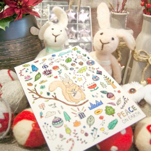 하베스터 크리스마스 카드 - 겨울다람쥐 (DIY 컬러링 카드)