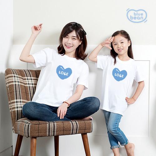 블루빈 아동 성인 티셔츠-손하트러브(블루)