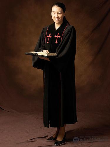 십자가자수 목사 가운_검정(B01-003)
