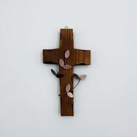 벽걸이 나무십자가(소) 브라운잎 / 자석부착겸용