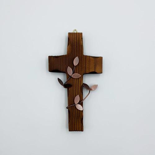 벽걸이 나무십자가(소) 브라운작은잎 / 자석부착겸용