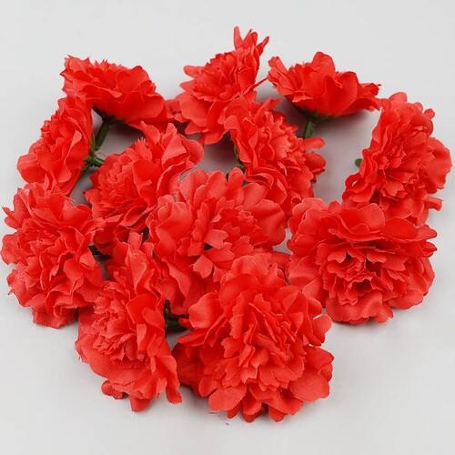인조 조화꽃 카네이션 꽃머리 레드 5cm 12개 세트