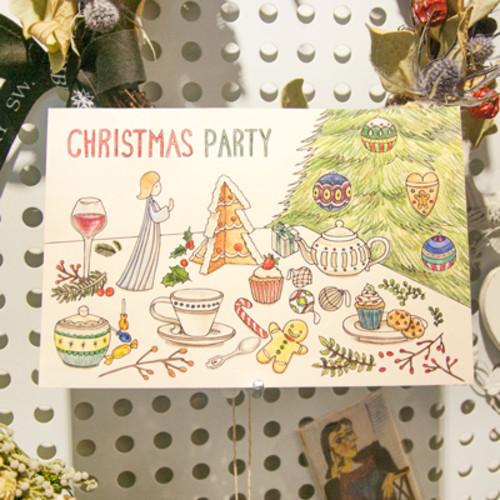 하베스터 크리스마스 카드 - 크리스마스 파티 (DIY 컬러링 카드)