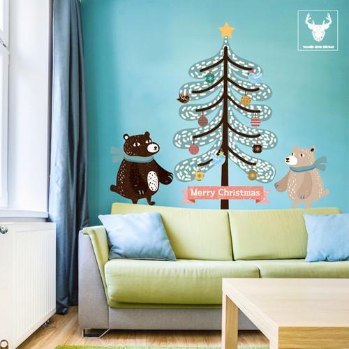 [한정판-북유럽스타일] KWC-2103 트리와 곰/크리스마스/트리/겨울/벽면/인테리어