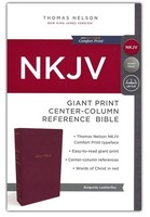 NKJV: Reference Bible, Center-Column Giant Print, Leather-Look, Burgundy, Red Letter Edition, Comfort Print (Imitation Leather)