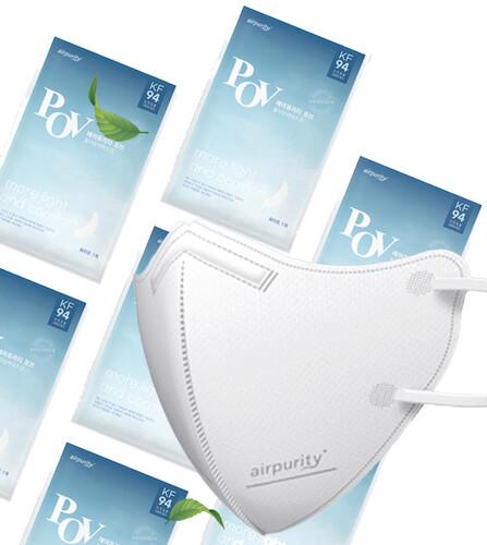 국산 KF94  4중구조 황사방역 마스크 에어퓨리티 레온 1매 10매 50매 100매 흰색 대형 개별포장