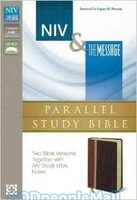 NIV and The Message Parallel Study Bible (Leather-look, Dark Caramel/Black Cherry)