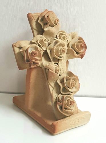 (탁상용) 장미 도자기 십자가 - 베이지