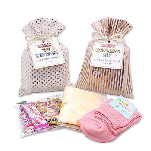 메시지선물 양말+스카프+간식세트 라벨선물포장