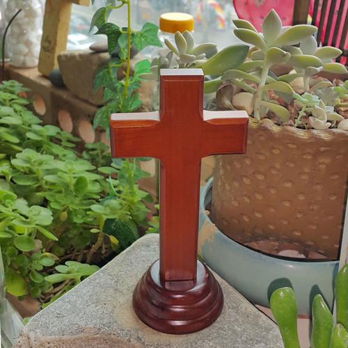 복음-원목나무탁상십자가(대)
