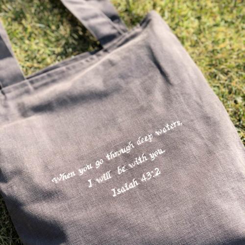 IREH 성경문구 메세지 자수 에코백