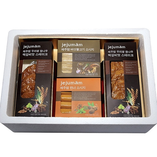 제주맘 알뜰세트 [떡갈비맛스테이크(300g×2ea), 흑돼지소시지(300g×2ea)]