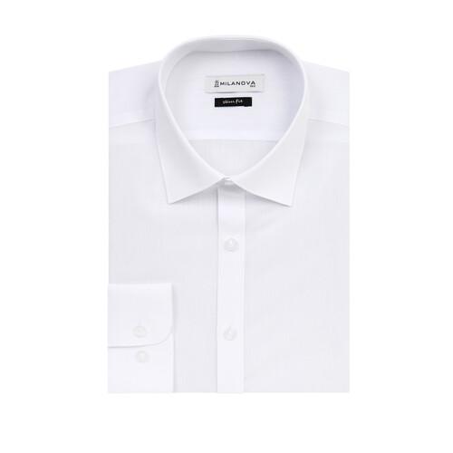 밀라노바_슬림핏_긴소매_화이트 와이셔츠_드레스 셔츠