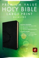 NLT: Premium Value Slimline Bible Large Print (Black, Imitation Leather)
