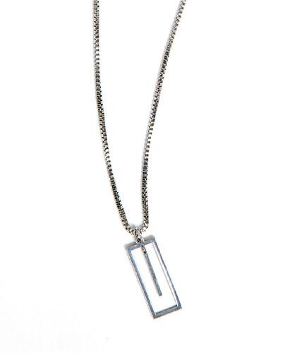 Silver Square Line Necklace