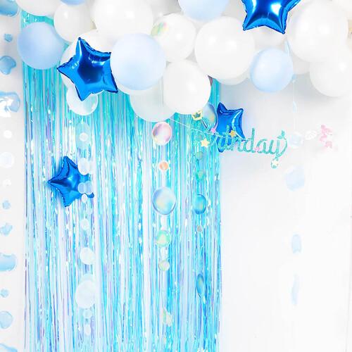 파티장식 은박수술 커튼 오로라 블루