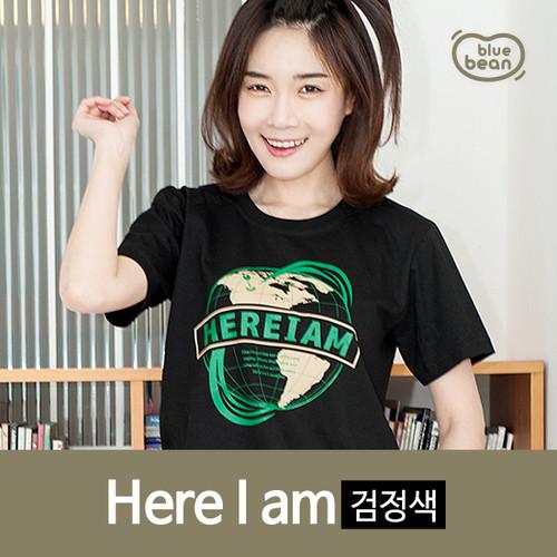 블루빈 성인 티셔츠-히어아이엠-(검정)