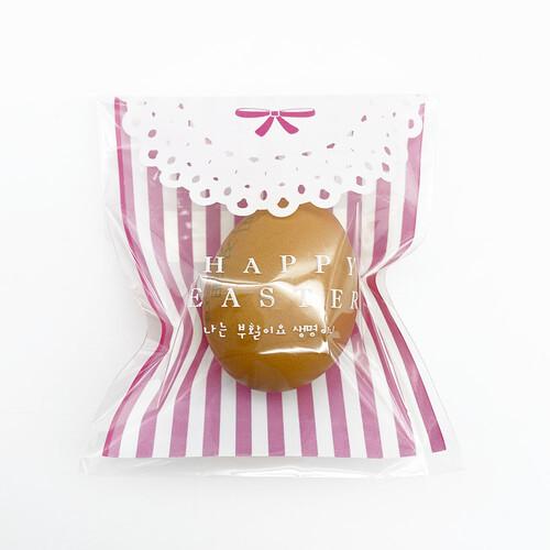 부활절 달걀포장 1구 접착식비닐(20매) 핑크스트라이프_리본레이스