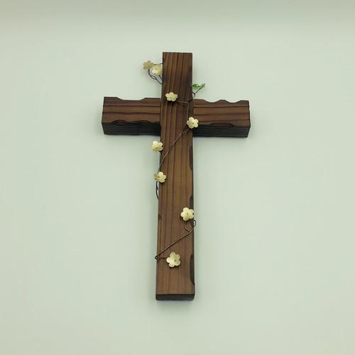벽걸이형 나무십자가(대) 미니꽃넝쿨