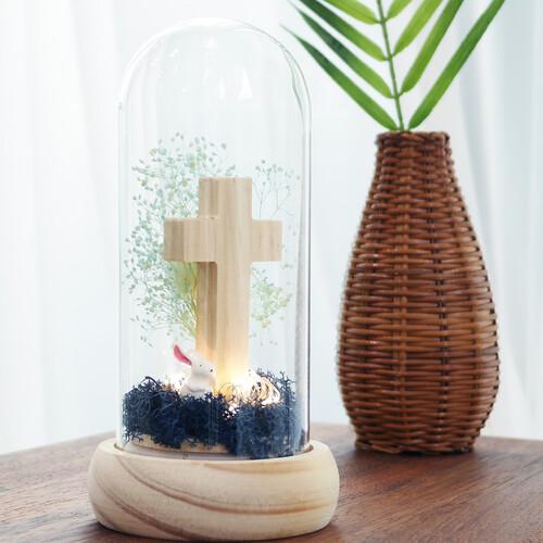 LED 원목 십자가 - 프리저브드 드라이플라워 무드등(블루)
