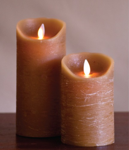 FLAMELESS CANDLE TAUPE DISTRESSED - 회갈색