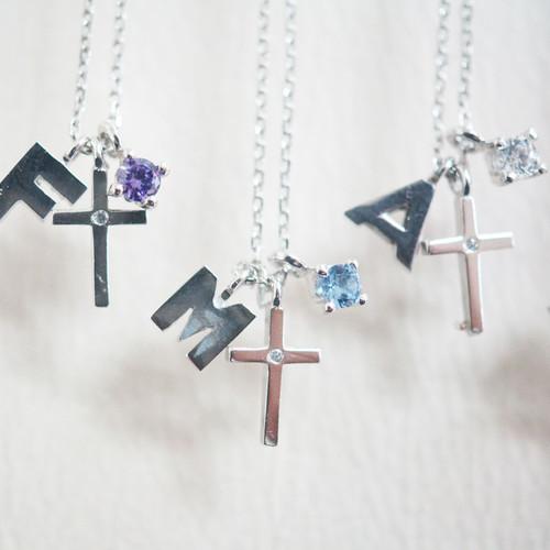 [십자가 목걸이] C-P121C(십자가+탄생석+이니셜)(체인포함) / 실버