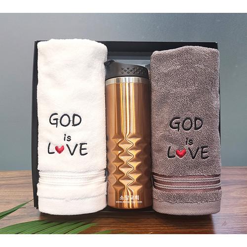 [땡큐몰] GOD IS LOVE - 160g 타올(2P)   텀블러 (1P)