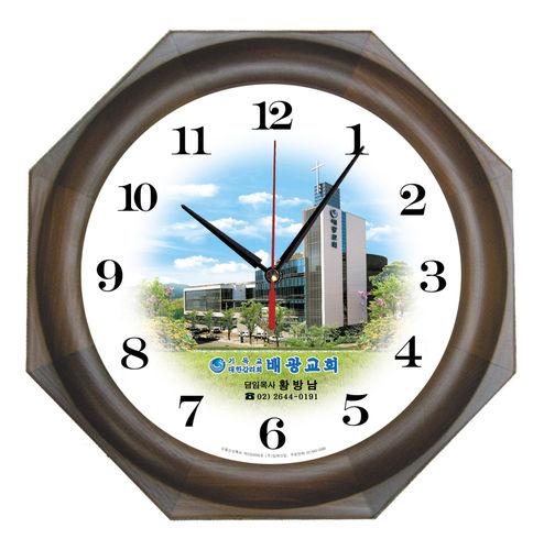 원형 벽시계 - 엔틱팔각400