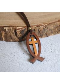 익투스 & 십자가 목걸이(투각)