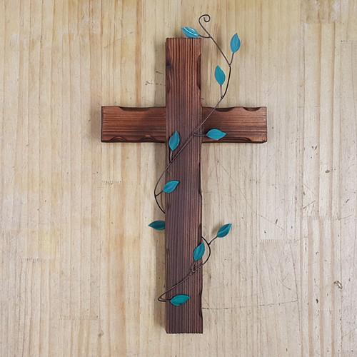 벽걸이 나무십자가(대) 녹색넝쿨