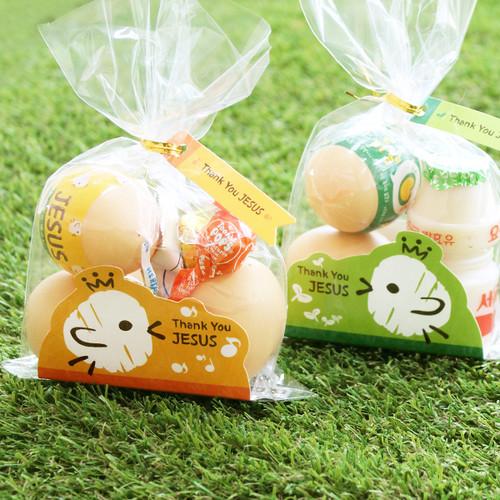부활절 달걀 2구 받침 40매(비닐,끈포함)_병아리 SET