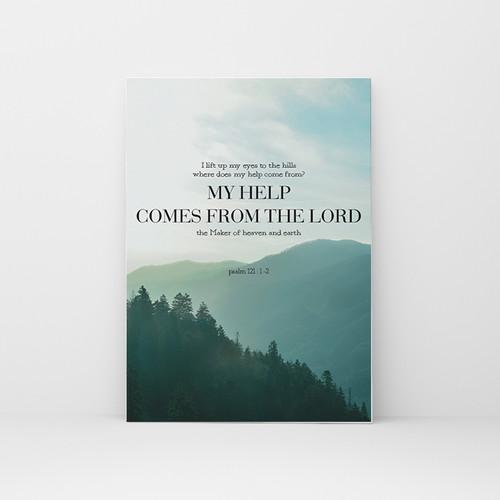 피크닉앳홈 Goodnews Papaer 성경말씀포스터 Mountain 시편 121장 1-2절