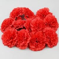 인조 조화꽃 카네이션 꽃머리 레드 9cm 12개 세트