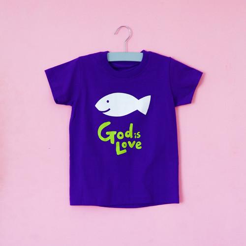 글로리월드 티셔츠 - 갓이즈러브(물고기) - 퍼플