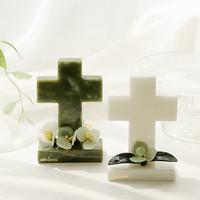 아토제이드 천연옥 플라워 십자가 M