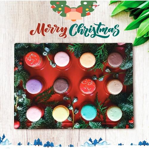 메리 크리스마스 홈파티용 선물용 강화 유리도마 항균 플레이팅 도마