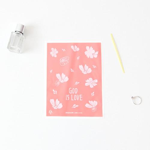 패키징 선물포장 비닐(타이) 04.핑크플라워(10매)