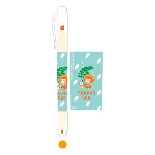 그레이스벨 헬로제인 양면형광펜 01.Orange