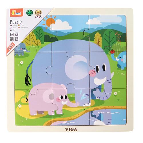 비가 9피스 원목 직소퍼즐 - 코끼리