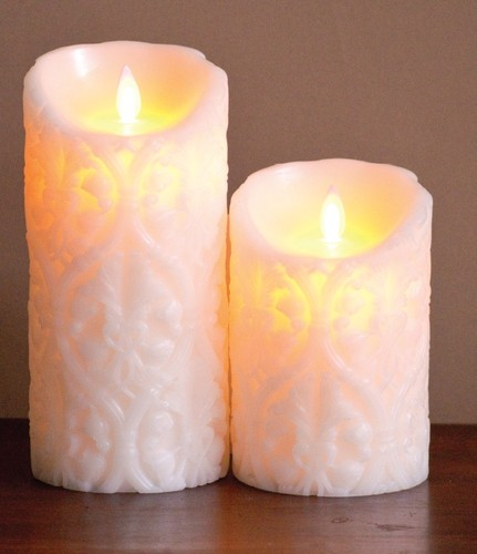FLAMELESS CANDLE IVORY DAMASK - 아이보리