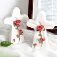 십자가 스탠드 탁상용 꽃다발 장미
