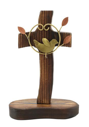 탁상용 수공예 나무십자가 (하트새)