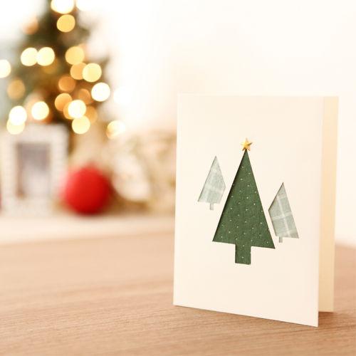하베스터 핸드매이드 크리스마스카드 - HCX1312 생명나무 (패브릭)