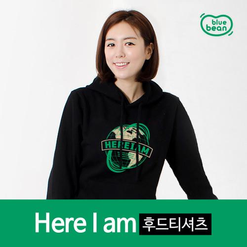 블루빈 히어아이엠 후드티(검정)-특양면