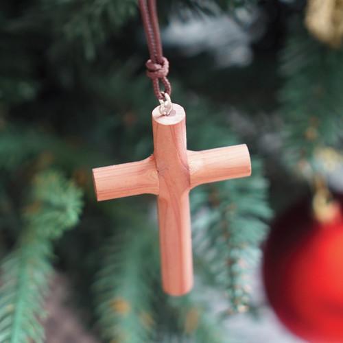 [블레슈] 굿트리 향나무 차량용 십자가 목걸이 - 자동차십자가 (국내제작)