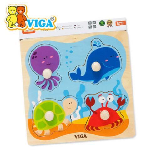비가 원목 베베 꼭지퍼즐 - 해양동물